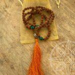 Japamala Nepalí Naranja Buda para sabiduría, felicidad y transformación